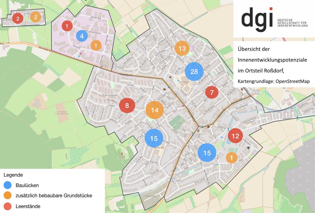 Innenentwicklungspotenziale in Roßdorf